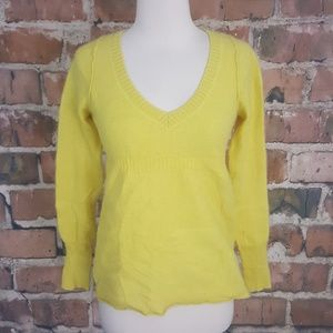 Twik Yellow Cashmere V-Neck Sweater sz M